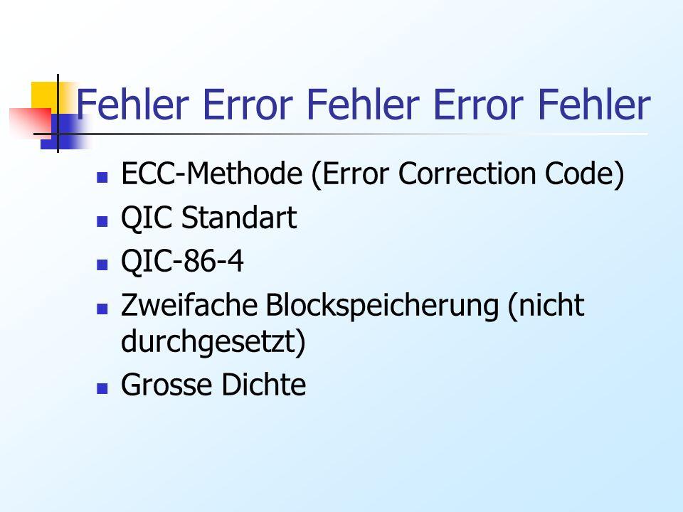 Fehler Error Fehler Error Fehler ECC-Methode (Error Correction Code) QIC Standart QIC-86-4 Zweifache Blockspeicherung (nicht durchgesetzt) Grosse Dich