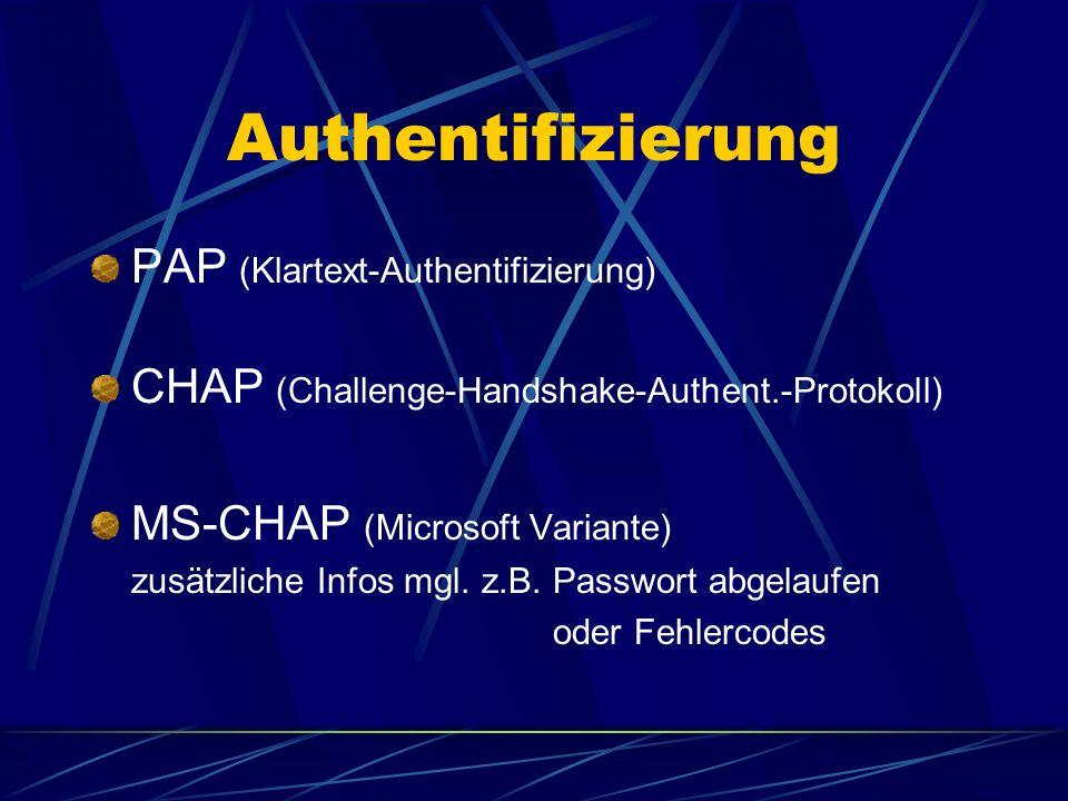 Authentifizierung PAP (Klartext-Authentifizierung) CHAP (Challenge-Handshake-Authent.-Protokoll) MS-CHAP (Microsoft Variante) zusätzliche Infos mgl.
