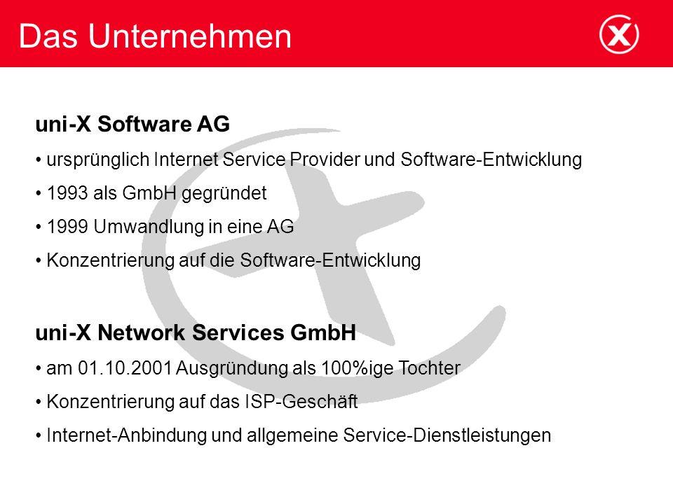 Das Unternehmen uni-X Software AG ursprünglich Internet Service Provider und Software-Entwicklung 1993 als GmbH gegründet 1999 Umwandlung in eine AG Konzentrierung auf die Software-Entwicklung uni-X Network Services GmbH am 01.10.2001 Ausgründung als 100%ige Tochter Konzentrierung auf das ISP-Geschäft Internet-Anbindung und allgemeine Service-Dienstleistungen