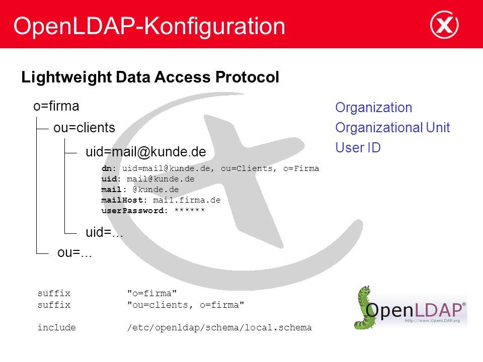 OpenLDAP-Konfiguration o=firma ou=clients uid=mail@kunde.de dn: uid=mail@kunde.de, ou=Clients, o=Firma uid: mail@kunde.de mail: @kunde.de mailHost: mail.firma.de userPassword: ****** uid=...