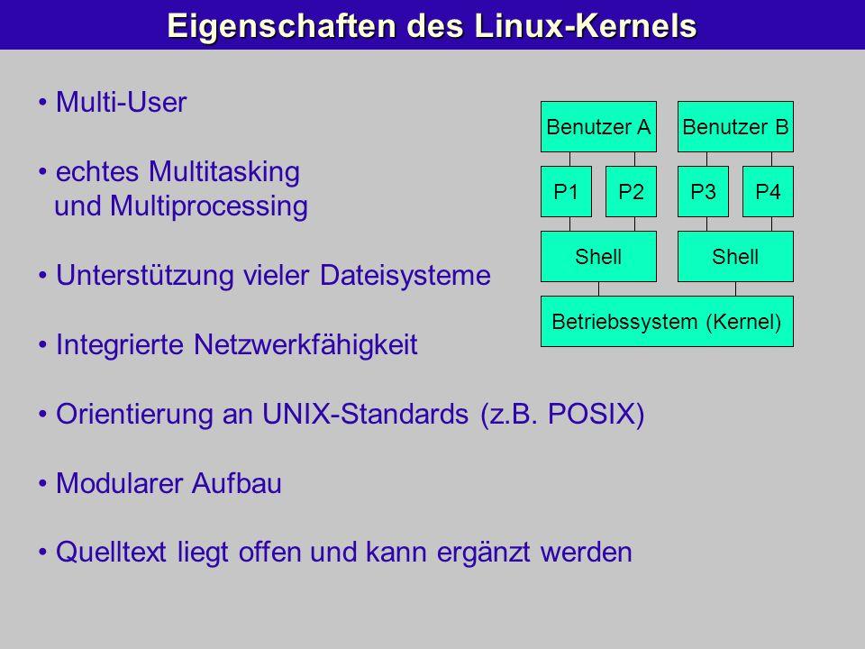Multi-User echtes Multitasking und Multiprocessing Unterstützung vieler Dateisysteme Integrierte Netzwerkfähigkeit Orientierung an UNIX-Standards (z.B