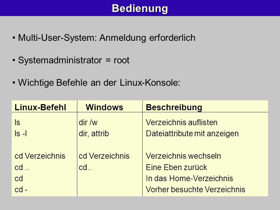 Bedienung Multi-User-System: Anmeldung erforderlich Systemadministrator = root Wichtige Befehle an der Linux-Konsole: Linux-Befehl WindowsBeschreibung
