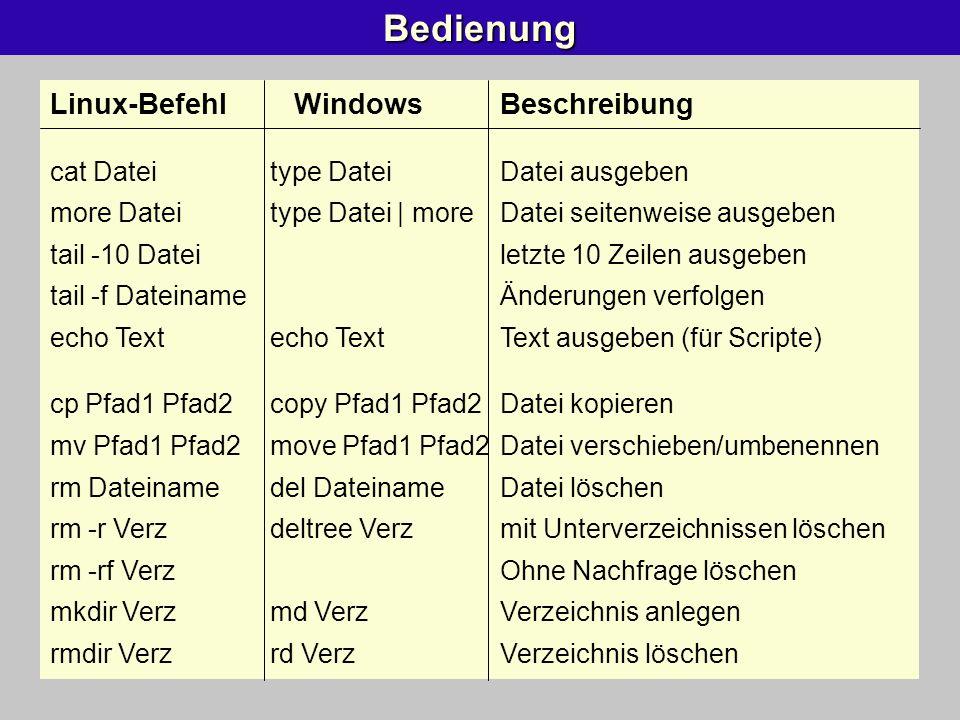 Bedienung Linux-Befehl WindowsBeschreibung cat Dateitype DateiDatei ausgeben more Dateitype Datei | moreDatei seitenweise ausgeben tail -10 Dateiletzt