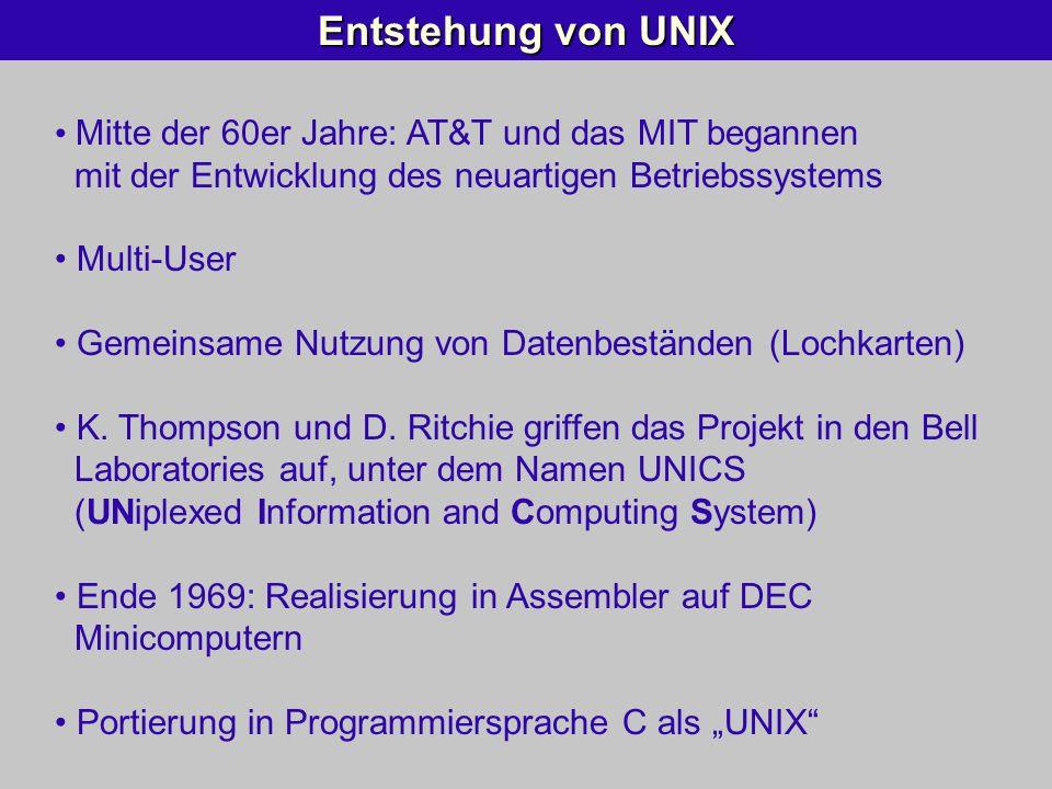 Entstehung von UNIX Mitte der 60er Jahre: AT&T und das MIT begannen mit der Entwicklung des neuartigen Betriebssystems Multi-User Gemeinsame Nutzung v