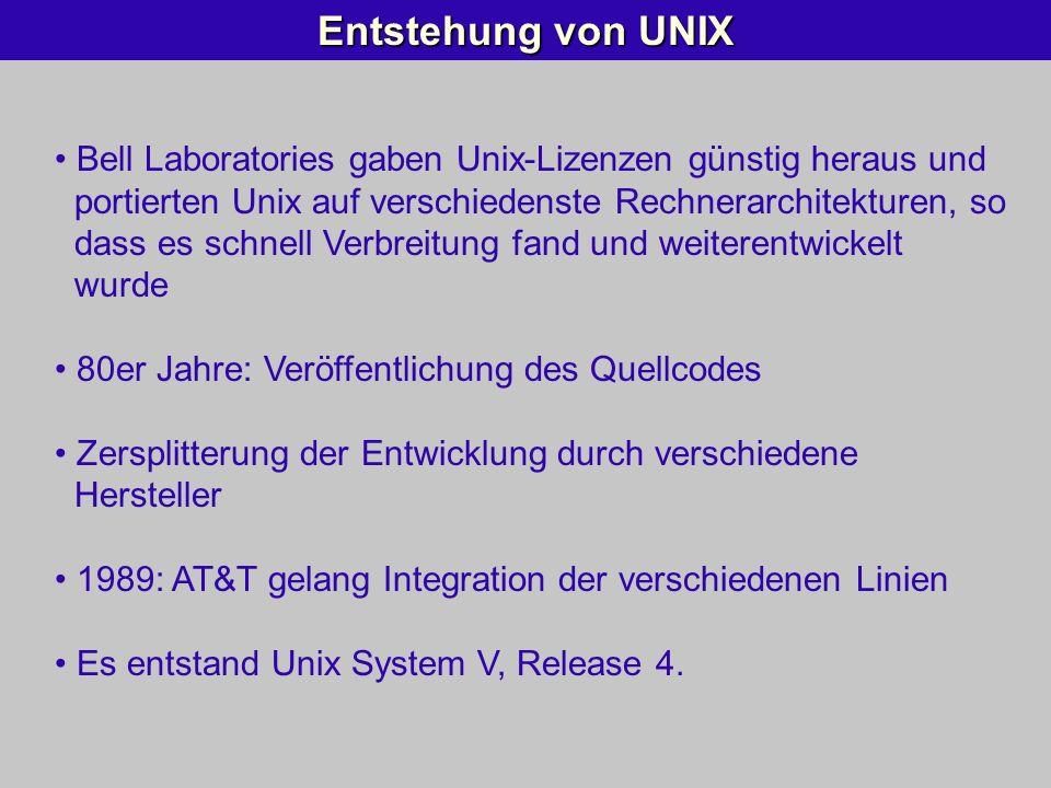 Entstehung von UNIX Bell Laboratories gaben Unix-Lizenzen günstig heraus und portierten Unix auf verschiedenste Rechnerarchitekturen, so dass es schne