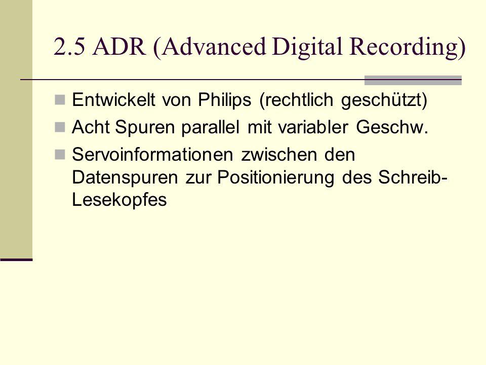 2.5 ADR (Advanced Digital Recording) Entwickelt von Philips (rechtlich geschützt) Acht Spuren parallel mit variabler Geschw. Servoinformationen zwisch