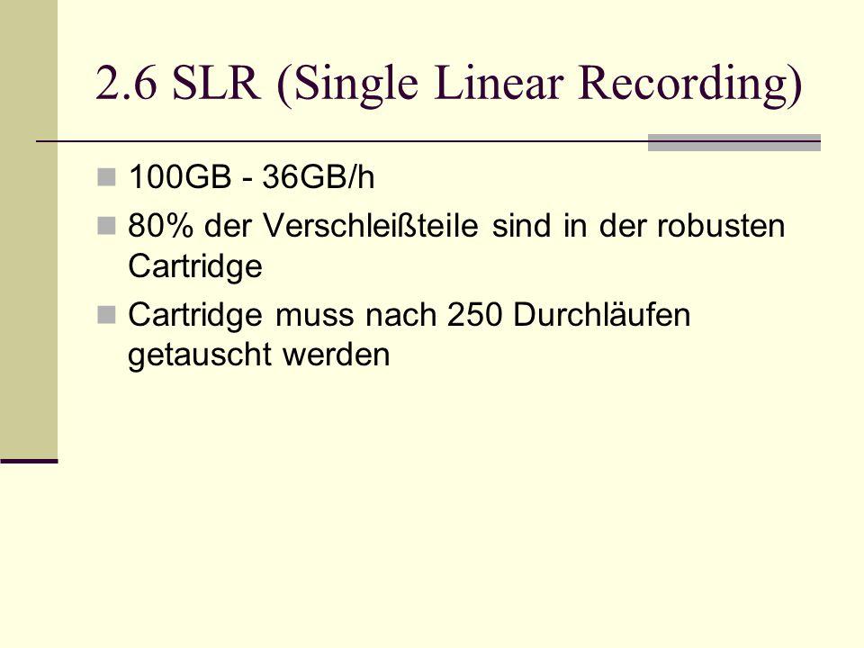 2.6 SLR (Single Linear Recording) 100GB - 36GB/h 80% der Verschleißteile sind in der robusten Cartridge Cartridge muss nach 250 Durchläufen getauscht