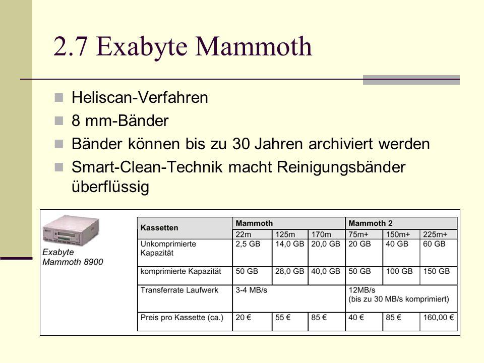 2.7 Exabyte Mammoth Heliscan-Verfahren 8 mm-Bänder Bänder können bis zu 30 Jahren archiviert werden Smart-Clean-Technik macht Reinigungsbänder überflü