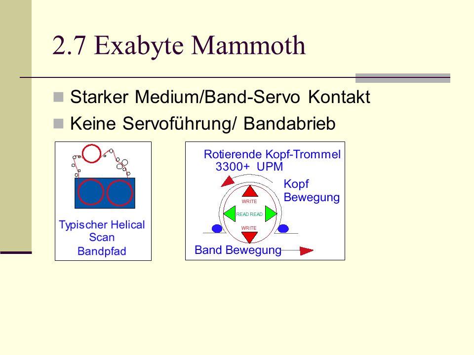 2.7 Exabyte Mammoth Starker Medium/Band-Servo Kontakt Keine Servoführung/ Bandabrieb