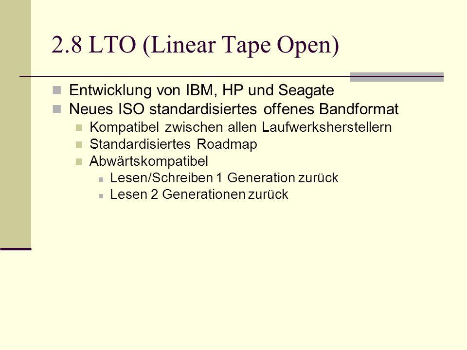 2.8 LTO (Linear Tape Open) Entwicklung von IBM, HP und Seagate Neues ISO standardisiertes offenes Bandformat Kompatibel zwischen allen Laufwerksherste
