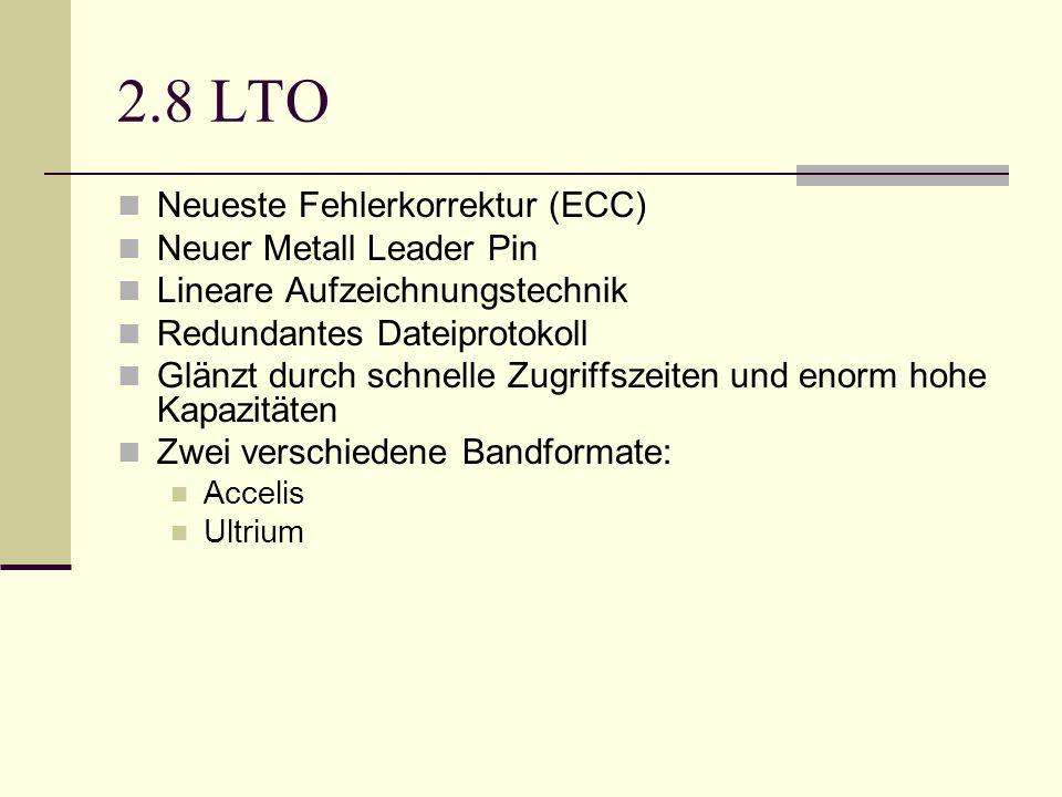 2.8 LTO Neueste Fehlerkorrektur (ECC) Neuer Metall Leader Pin Lineare Aufzeichnungstechnik Redundantes Dateiprotokoll Glänzt durch schnelle Zugriffsze