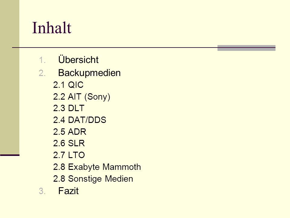 Inhalt 1. Übersicht 2. Backupmedien 2.1 QIC 2.2 AIT (Sony) 2.3 DLT 2.4 DAT/DDS 2.5 ADR 2.6 SLR 2.7 LTO 2.8 Exabyte Mammoth 2.8 Sonstige Medien 3. Fazi