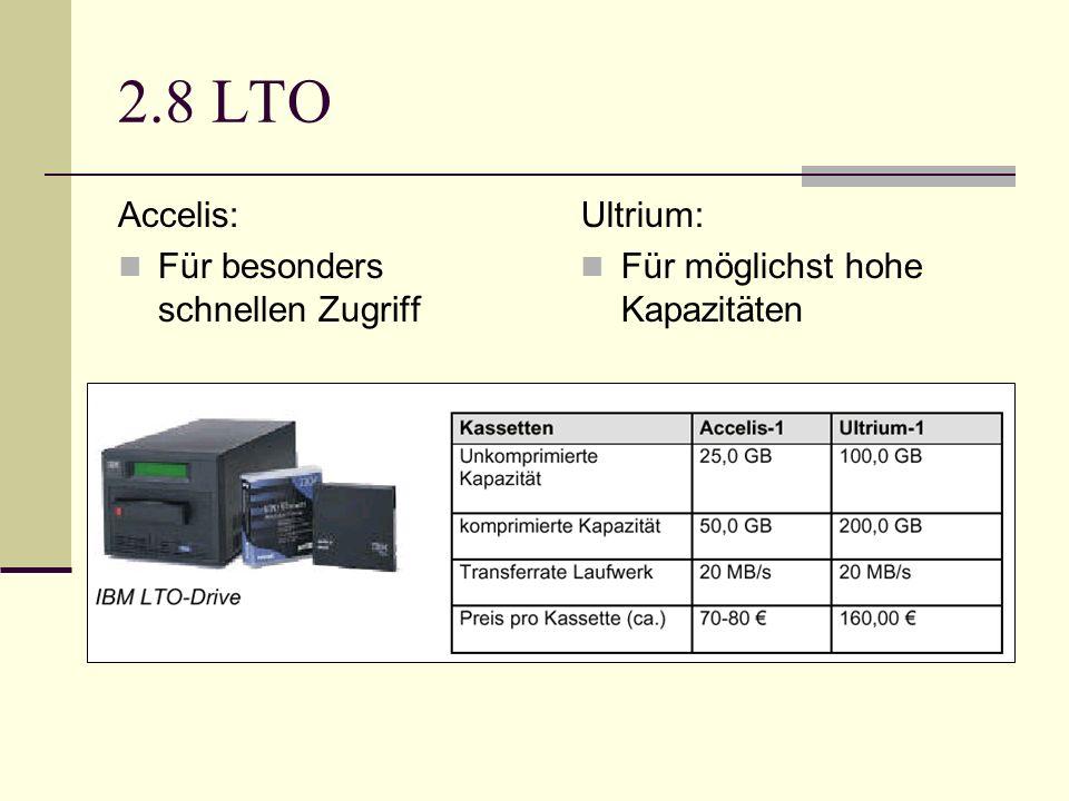 2.8 LTO Accelis: Für besonders schnellen Zugriff Ultrium: Für möglichst hohe Kapazitäten