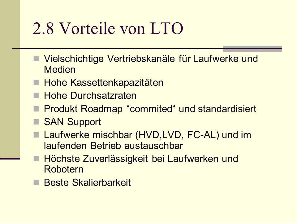 2.8 Vorteile von LTO Vielschichtige Vertriebskanäle für Laufwerke und Medien Hohe Kassettenkapazitäten Hohe Durchsatzraten Produkt Roadmap commited un