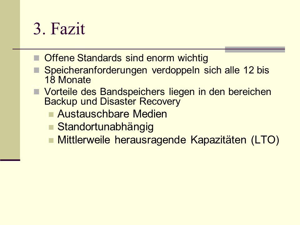 3. Fazit Offene Standards sind enorm wichtig Speicheranforderungen verdoppeln sich alle 12 bis 18 Monate Vorteile des Bandspeichers liegen in den bere