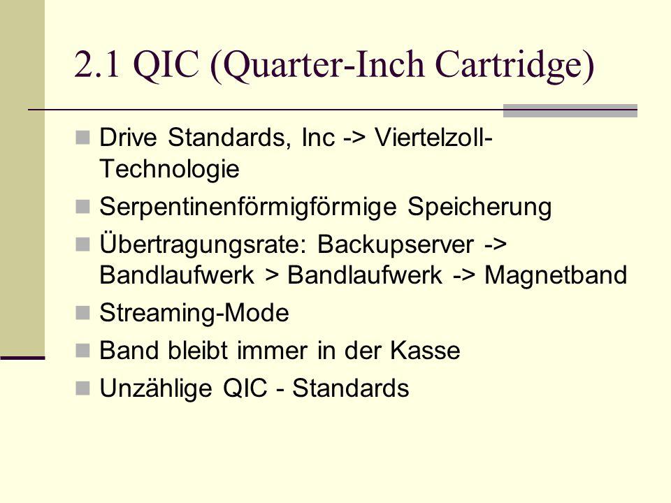 2.1 QIC (Quarter-Inch Cartridge) Drive Standards, Inc -> Viertelzoll- Technologie Serpentinenförmigförmige Speicherung Übertragungsrate: Backupserver