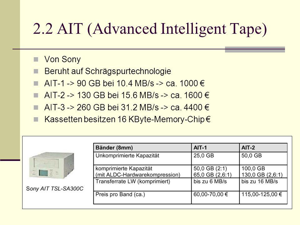 2.2 AIT (Advanced Intelligent Tape) Von Sony Beruht auf Schrägspurtechnologie AIT-1 -> 90 GB bei 10.4 MB/s -> ca. 1000 AIT-2 -> 130 GB bei 15.6 MB/s -