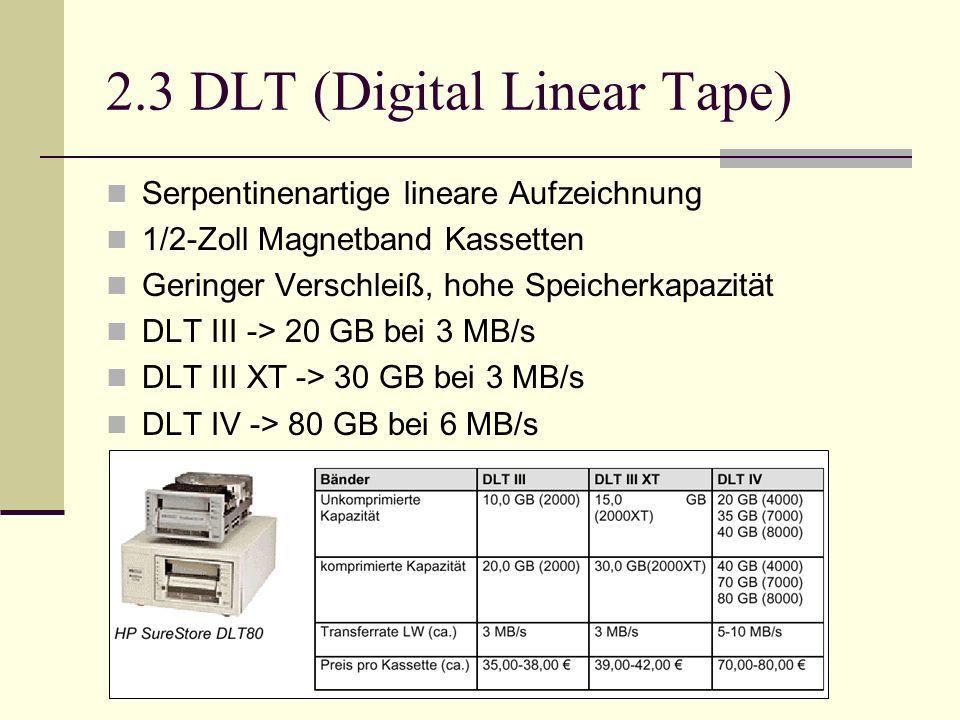 2.3 DLT (Digital Linear Tape) Serpentinenartige lineare Aufzeichnung 1/2-Zoll Magnetband Kassetten Geringer Verschleiß, hohe Speicherkapazität DLT III