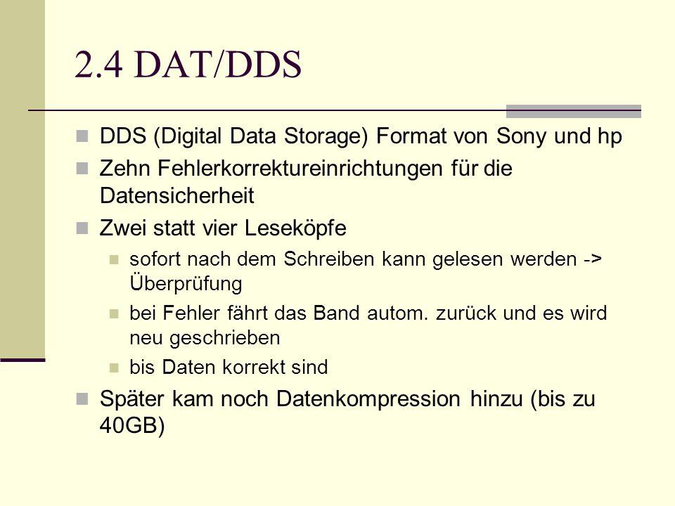 2.4 DAT/DDS DDS (Digital Data Storage) Format von Sony und hp Zehn Fehlerkorrektureinrichtungen für die Datensicherheit Zwei statt vier Leseköpfe sofo