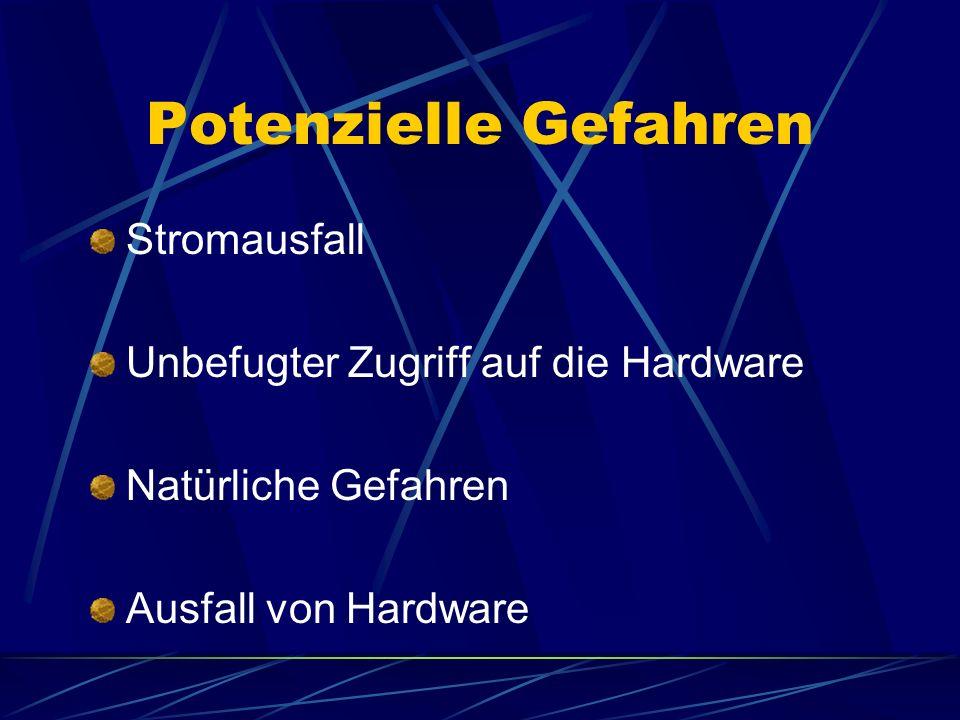 Potenzielle Gefahren Stromausfall Unbefugter Zugriff auf die Hardware Natürliche Gefahren Ausfall von Hardware