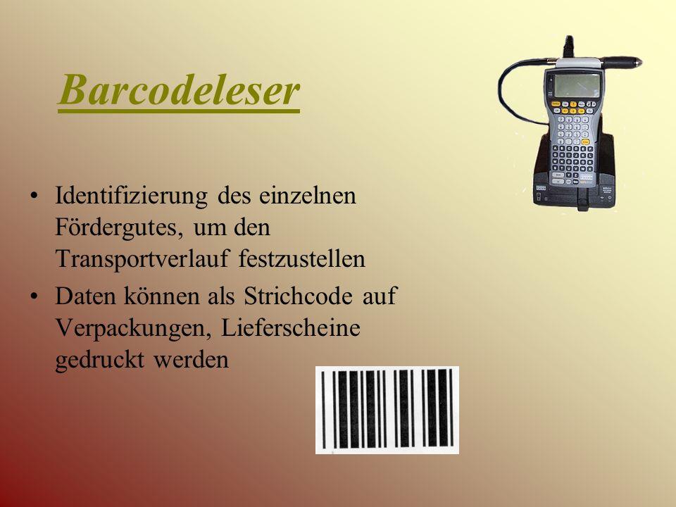 Barcodeleser Identifizierung des einzelnen Fördergutes, um den Transportverlauf festzustellen Daten können als Strichcode auf Verpackungen, Lieferscheine gedruckt werden