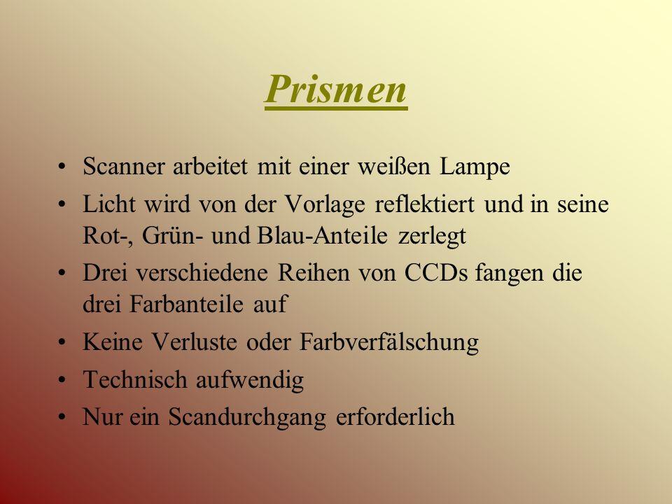 Prismen Scanner arbeitet mit einer weißen Lampe Licht wird von der Vorlage reflektiert und in seine Rot-, Grün- und Blau-Anteile zerlegt Drei verschiedene Reihen von CCDs fangen die drei Farbanteile auf Keine Verluste oder Farbverfälschung Technisch aufwendig Nur ein Scandurchgang erforderlich