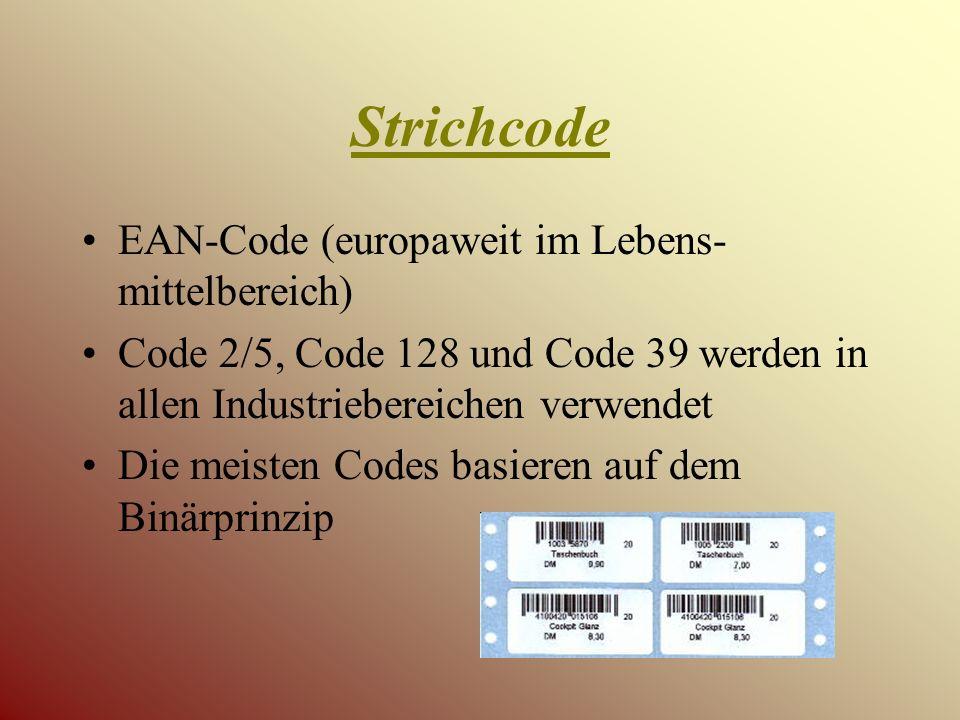 Terminologie Strichcodefeld Strich Lücke Trennlücke Ruhezone Start- und Stopzeichen Prüfziffer