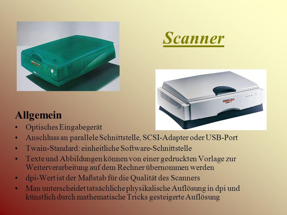 Scannertypen Flachbettscanner Einzugsscanner Handscanner Diascanner Trommelscanner 3D-Scanner