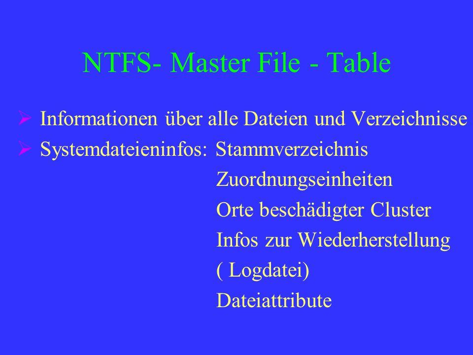 NTFS- Master File - Table Informationen über alle Dateien und Verzeichnisse Systemdateieninfos: Stammverzeichnis Zuordnungseinheiten Orte beschädigter