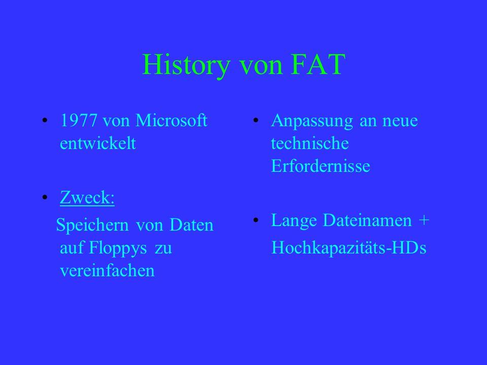 History von FAT 1977 von Microsoft entwickelt Zweck: Speichern von Daten auf Floppys zu vereinfachen Anpassung an neue technische Erfordernisse Lange