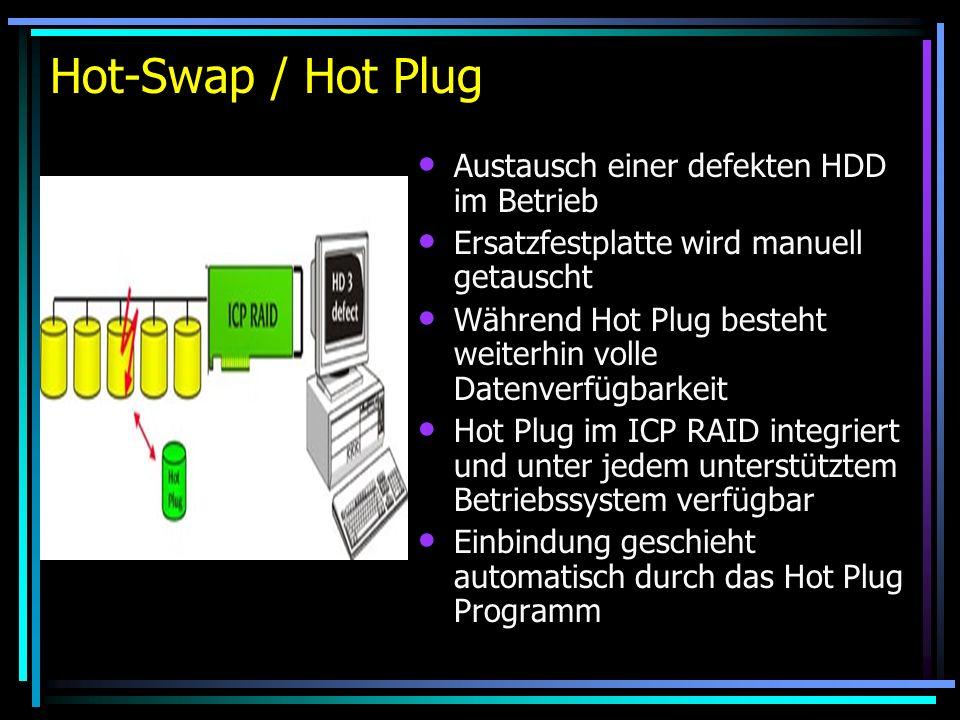 Hot-Swap / Hot Plug Austausch einer defekten HDD im Betrieb Ersatzfestplatte wird manuell getauscht Während Hot Plug besteht weiterhin volle Datenverf