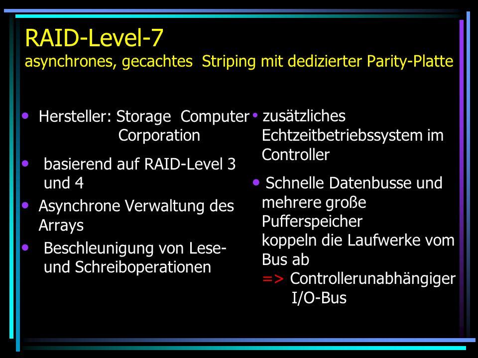RAID-Level-7 asynchrones, gecachtes Striping mit dedizierter Parity-Platte Hersteller: Storage Computer Corporation basierend auf RAID-Level 3 und 4 A