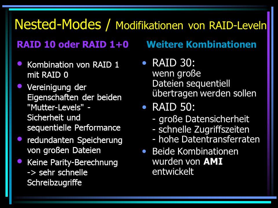 Nested-Modes / Modifikationen von RAID-Leveln Kombination von RAID 1 mit RAID 0 Vereinigung der Eigenschaften der beiden