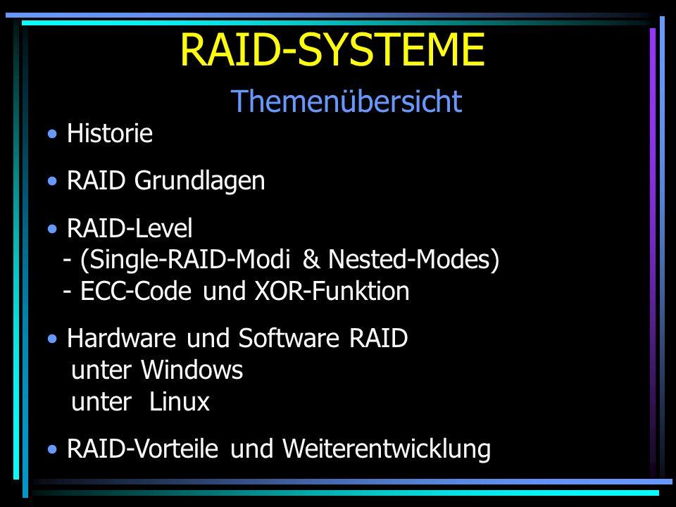 RAID-SYSTEME Themenübersicht Historie RAID Grundlagen RAID-Level - (Single-RAID-Modi & Nested-Modes) - ECC-Code und XOR-Funktion Hardware und Software