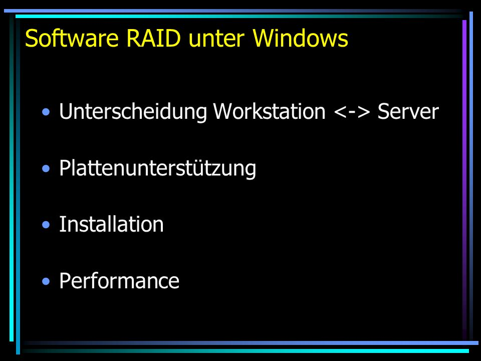 RAID unter Linux Hardware-RAID-Controller Software-RAID (Level 0, 1, 5 und 10): - Multiple Device Driver for Linux - Paket raidtools installieren - /dev/md0 und /proc/mdstat - /etc/raidtab - Erstellung mit mkraid - raidhotadd