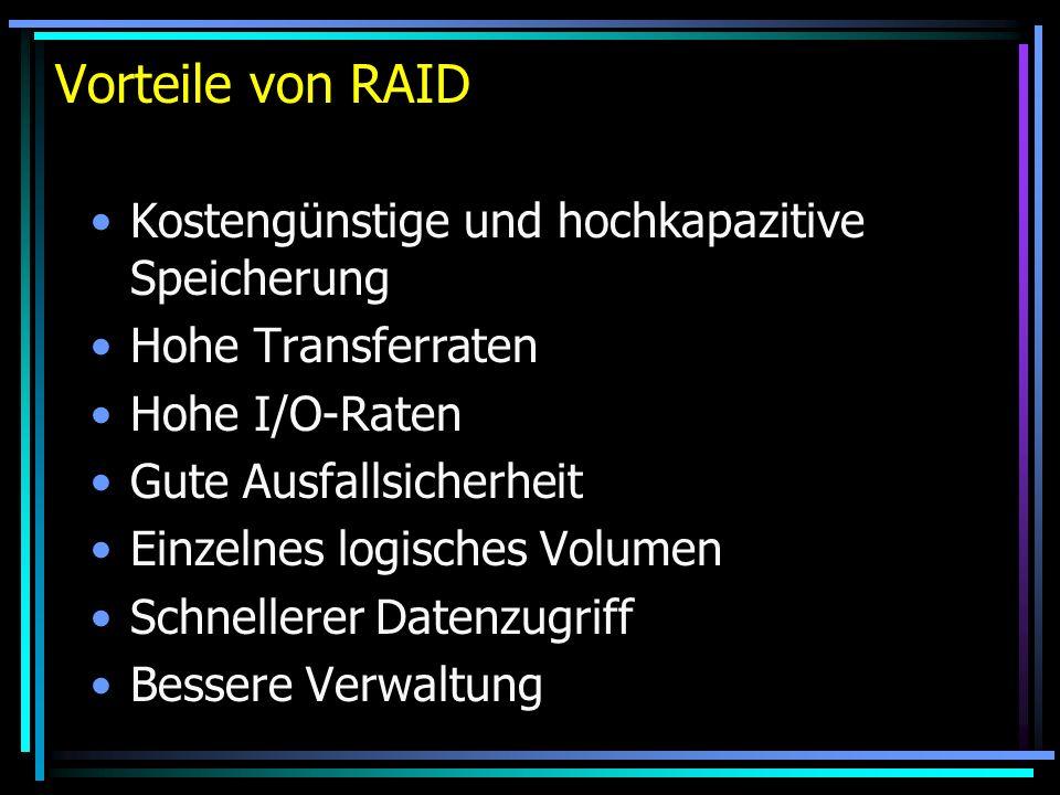 Vorteile von RAID Kostengünstige und hochkapazitive Speicherung Hohe Transferraten Hohe I/O-Raten Gute Ausfallsicherheit Einzelnes logisches Volumen S