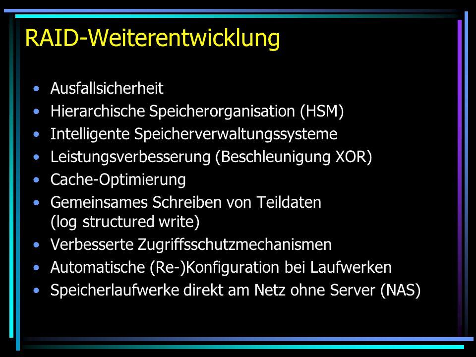 RAID-Weiterentwicklung Ausfallsicherheit Hierarchische Speicherorganisation (HSM) Intelligente Speicherverwaltungssysteme Leistungsverbesserung (Besch