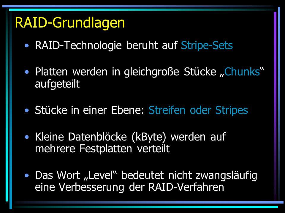 RAID-Grundlagen RAID-Technologie beruht auf Stripe-Sets Platten werden in gleichgroße Stücke Chunks aufgeteilt Stücke in einer Ebene: Streifen oder St