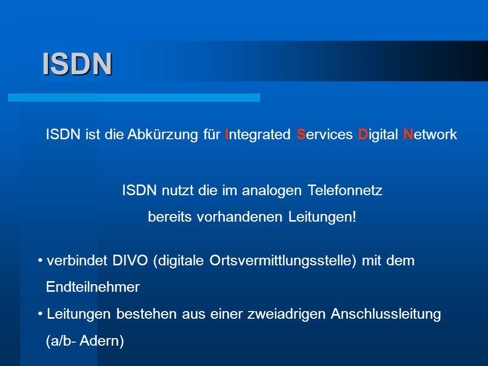 ISDN ISDN ist die Abkürzung für Integrated Services Digital Network ISDN nutzt die im analogen Telefonnetz bereits vorhandenen Leitungen! verbindet DI