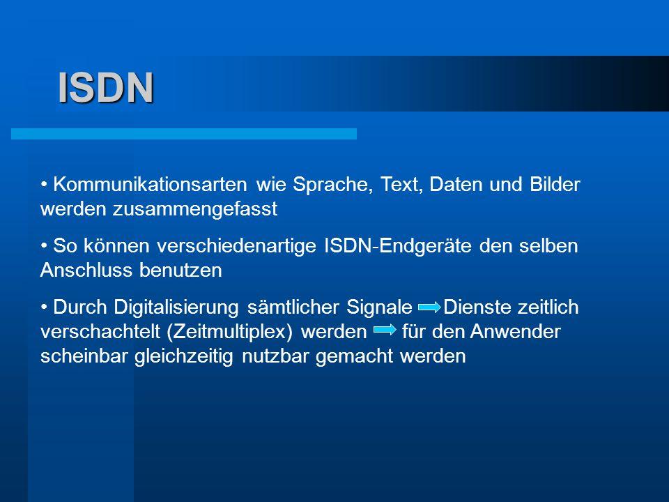ISDN Kommunikationsarten wie Sprache, Text, Daten und Bilder werden zusammengefasst So können verschiedenartige ISDN-Endgeräte den selben Anschluss be