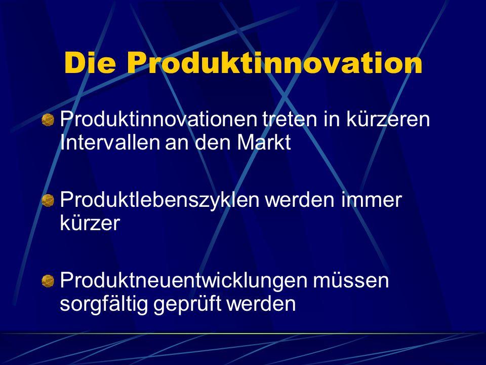 Die Produktinnovation Produktinnovationen treten in kürzeren Intervallen an den Markt Produktlebenszyklen werden immer kürzer Produktneuentwicklungen