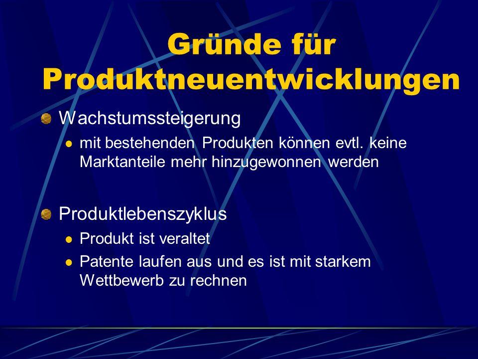 Gründe für Produktneuentwicklungen Wachstumssteigerung mit bestehenden Produkten können evtl. keine Marktanteile mehr hinzugewonnen werden Produktlebe