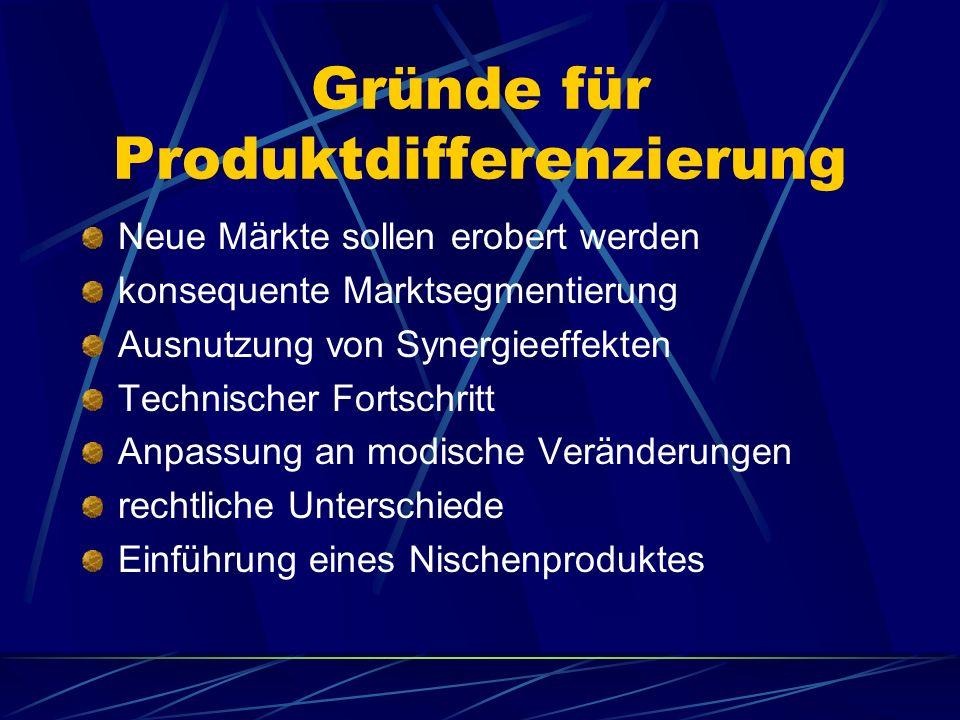 Gründe für Produktdifferenzierung Neue Märkte sollen erobert werden konsequente Marktsegmentierung Ausnutzung von Synergieeffekten Technischer Fortsch