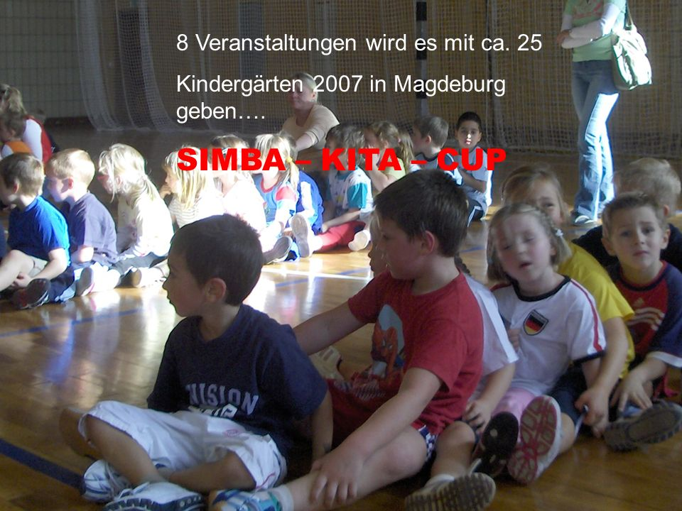 Der Simba-Kindergarten –Cup wird von uns seit Jahren veranstaltet und ist Plattform für weitere Angebote in der AK 4-6 : - Kindergarten –Sport AG 8 Ve
