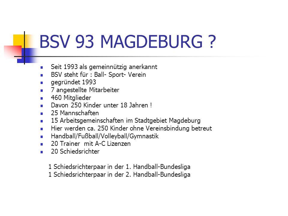 BSV 93 MAGDEBURG ? Seit 1993 als gemeinnützig anerkannt BSV steht für : Ball- Sport- Verein gegründet 1993 7 angestellte Mitarbeiter 460 Mitglieder Da