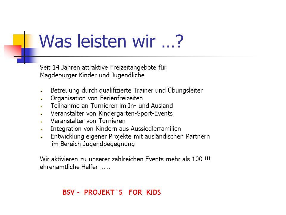 Was leisten wir …? Seit 14 Jahren attraktive Freizeitangebote für Magdeburger Kinder und Jugendliche Betreuung durch qualifizierte Trainer und Übungsl