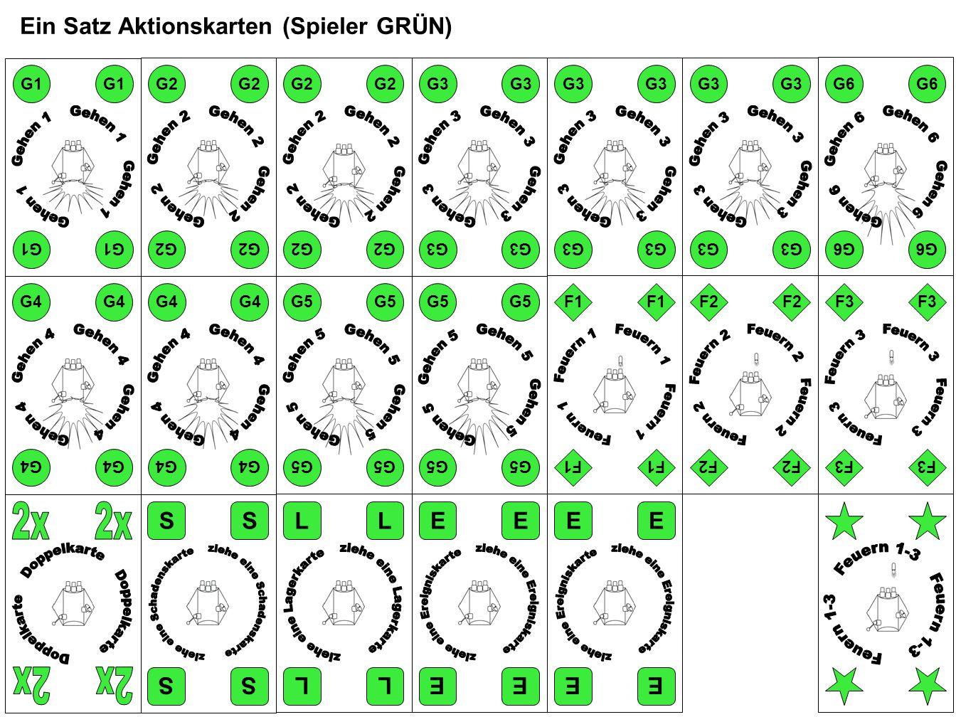 Ein Satz Aktionskarten (Spieler GRÜN) F2 F3 F1 E G5 E EE EE EE LL LL SS SS G4 G1 G2 G4 G2 G3 G6