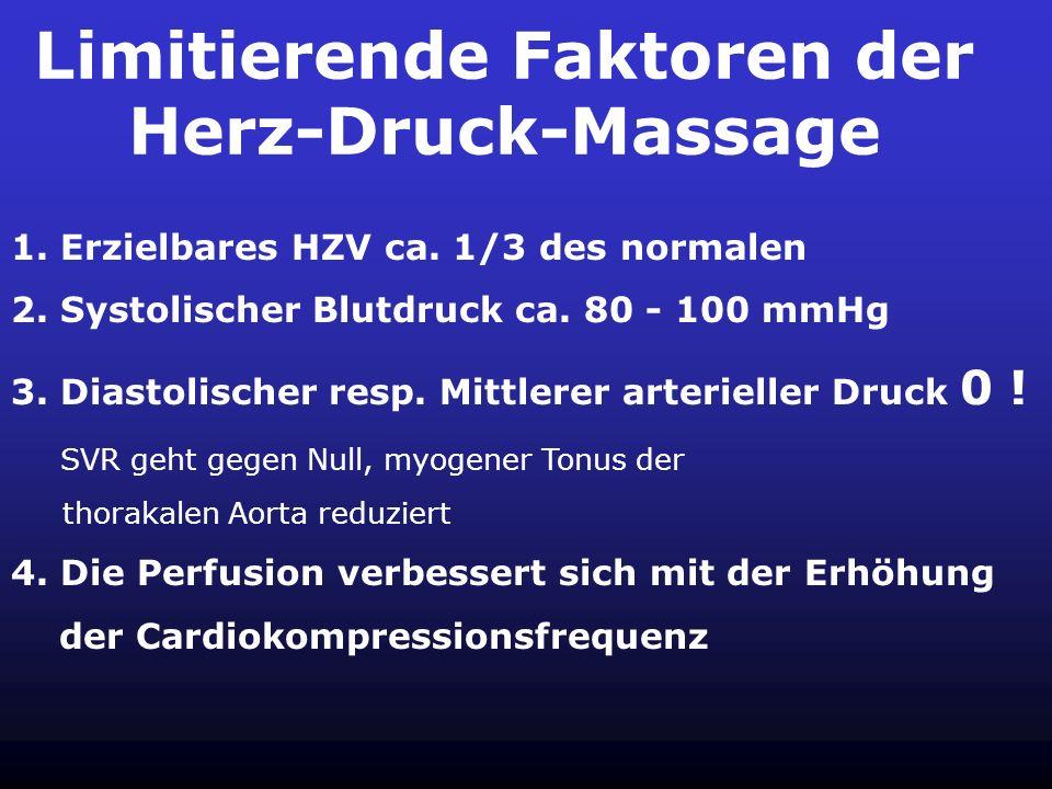 Herz-Druck-Massage 1. Die HDM besteht aus den konkurrierenden Prinzipien der Ventrikelkompression und des Thoraxpumpmechanismus 2. Voraussetzung ist d