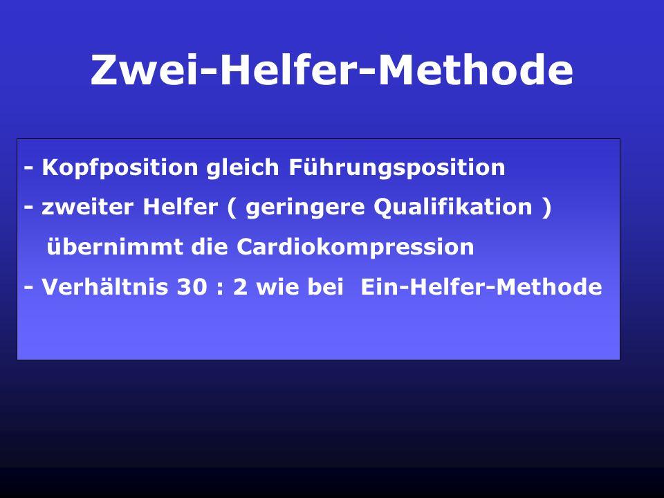 Ein-Helfer Methode - Position hinter dem Kopf des Patienten - Beginn der Reanimation mit 30 Kompressionen - Falls kein Puls tastbar : Weiterführung de