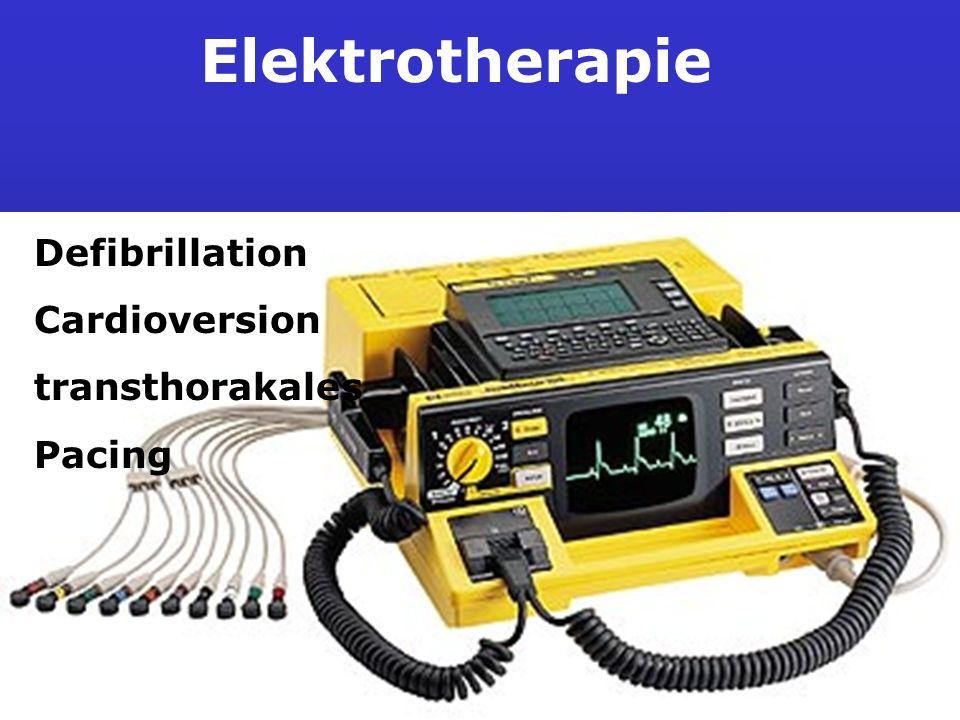 Defibrillation Die Defibrillation ist die Maßnahme mit der höchsten Priorität bei : Kammerflimmern Kammerflattern Pulslosen Tachykardien Nicht sichere